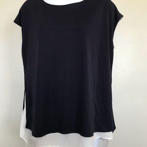 Ann Taylor Sz L Sleeveless Navy and White Layered